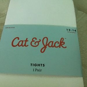 Unopened white footed tights